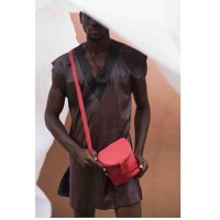 Sling Leather Bucket Bag- Red