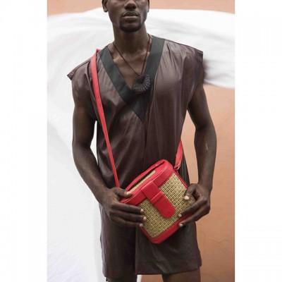 Mini Raffia Leather Box Bag- Red