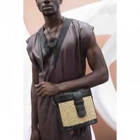 Mini Raffia Leather Box Bag- Black