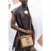 Mini Raffia Leather Box Bag- Brown