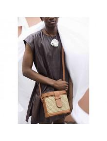 Mini Raffia Leather Box Bag- Brown