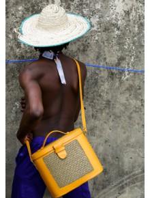 Raffia Leather Box Bag- Mustard