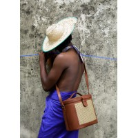 Raffia Leather Box Bag- Brown