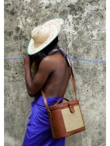 Raffia Leather Box Bag- Brown